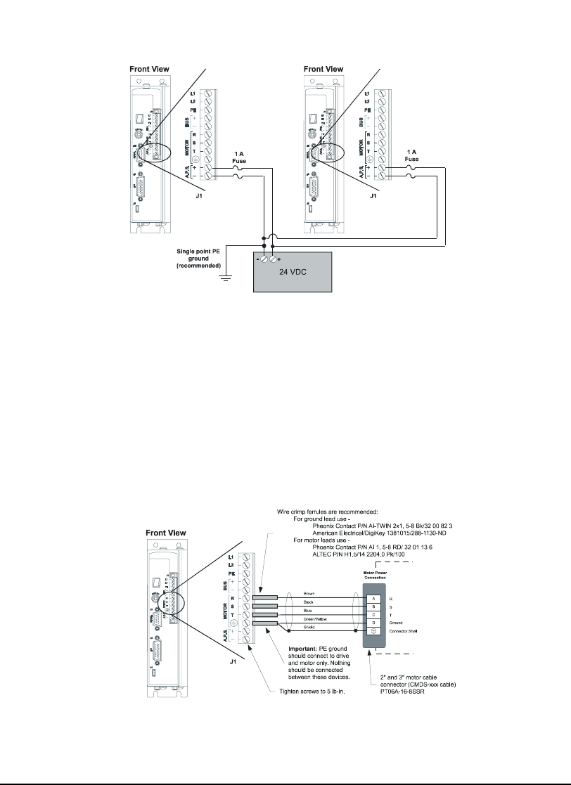 Emerson 400501-05, Epsilon Eb Digital Servo Drive Motor Power Wiring