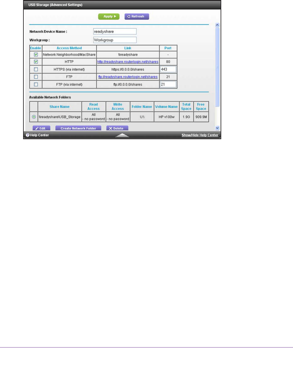 NETGEAR R6300 USB Storage Device Network and Access Settings