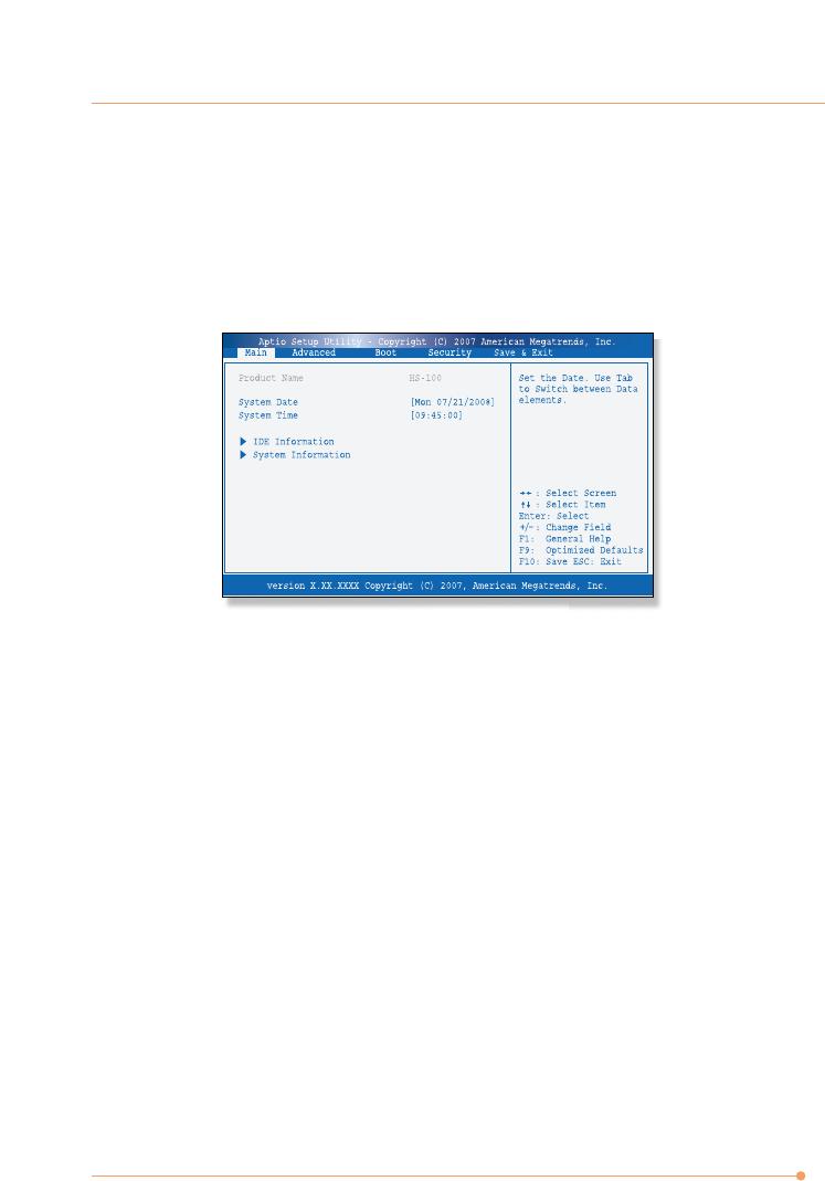 AVERATEC N1000 Series BIOS Setup Menu