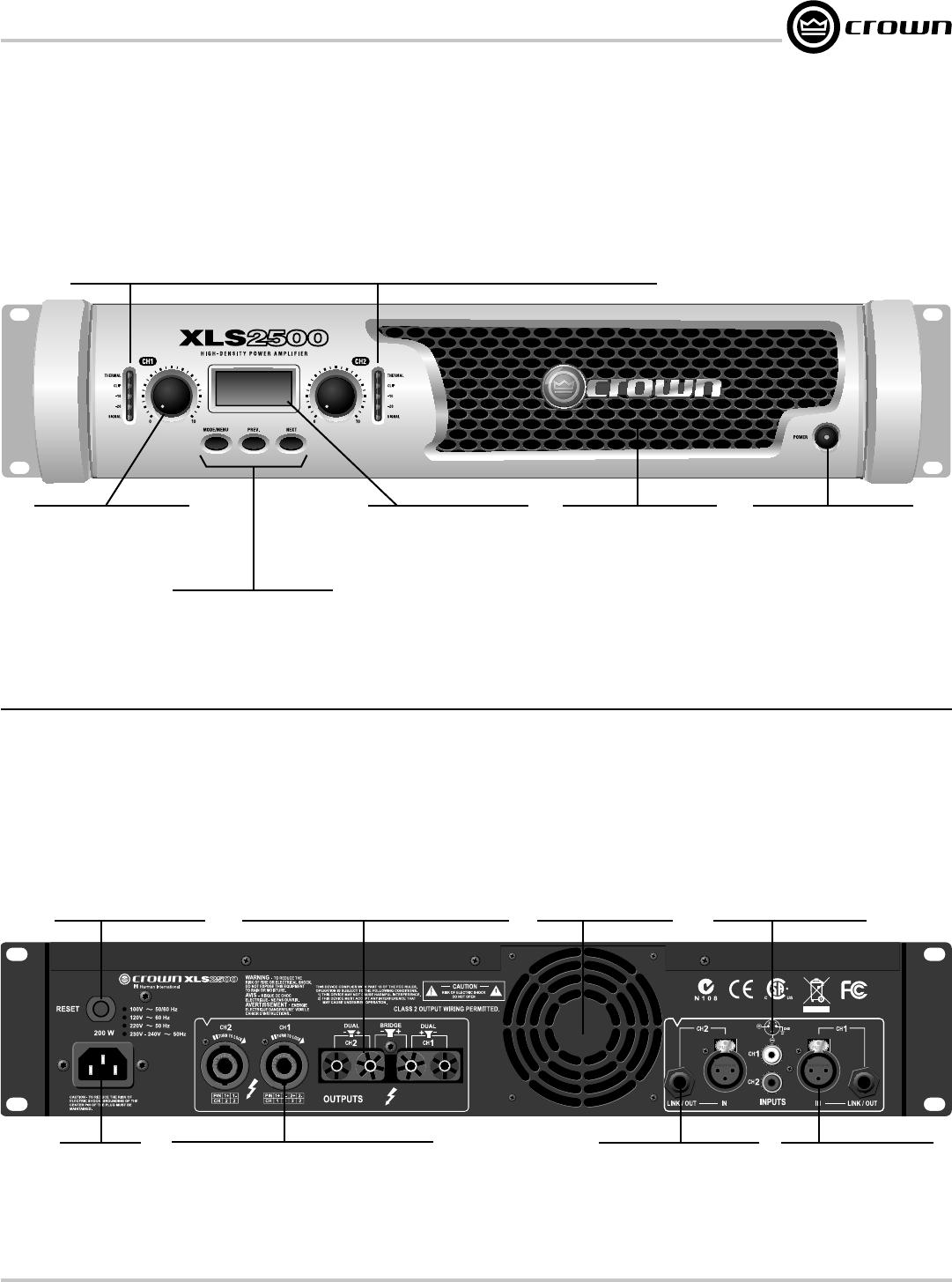 Crown Xls 1000 Front Panel Features Back Wiring