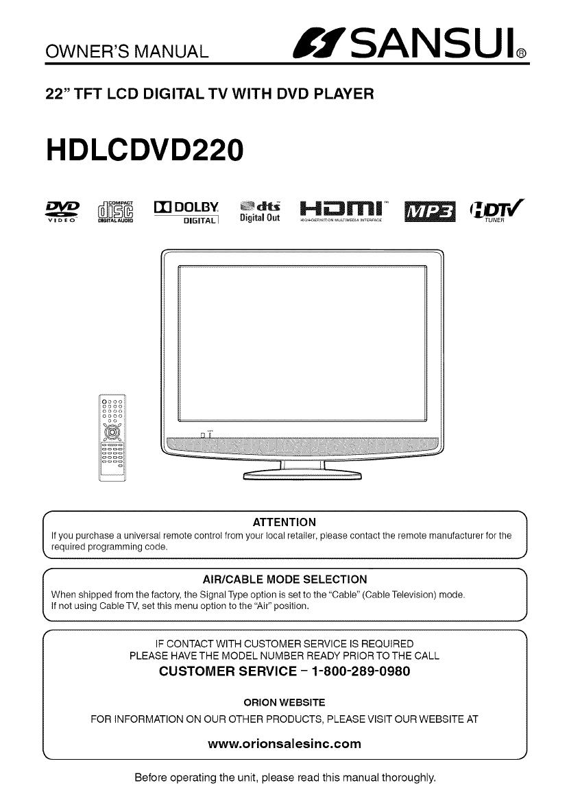 Sansui HDLCDVD220 owner manual