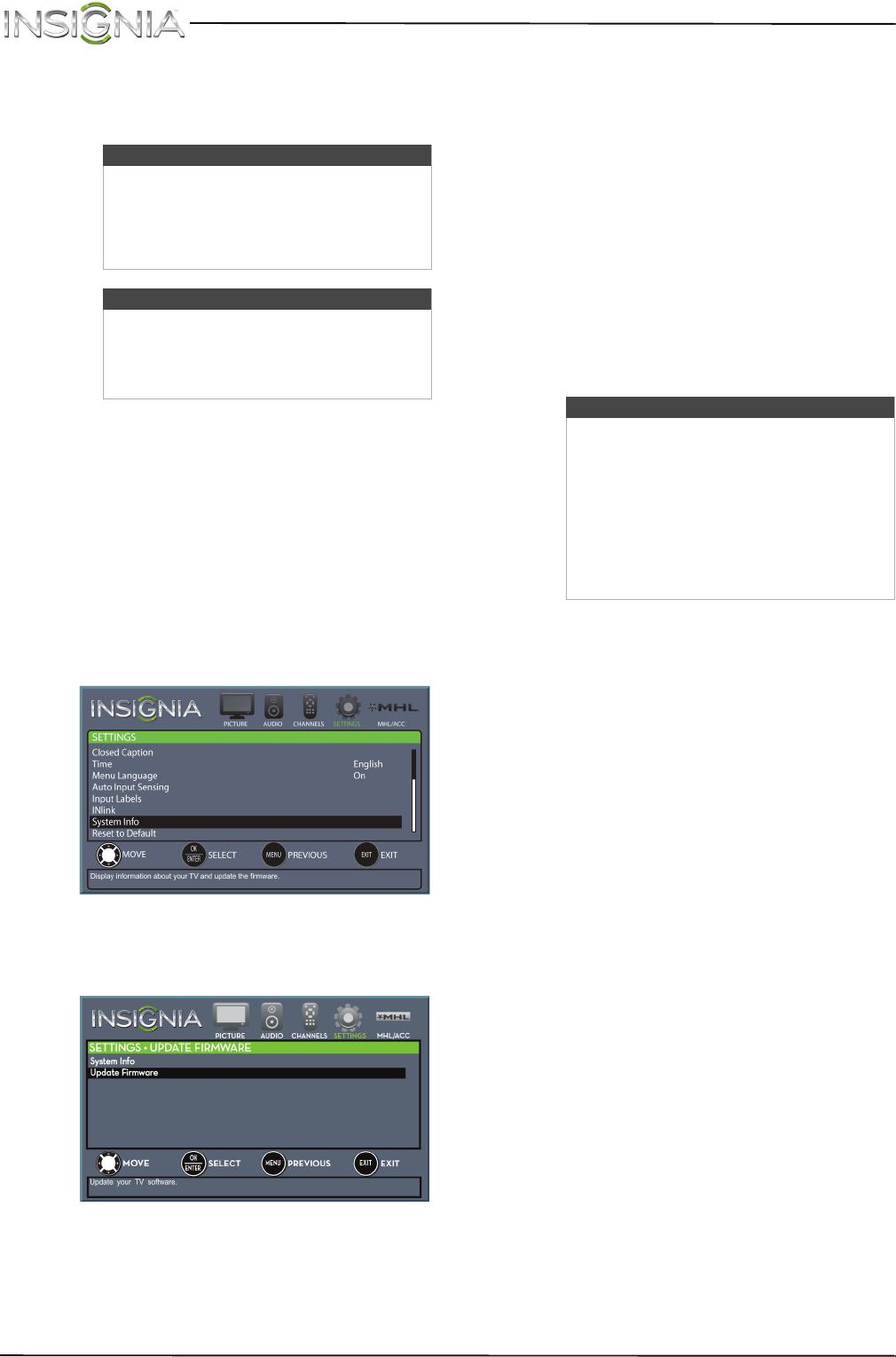 Insignia NS-42D510NA15 Update the TV firmware