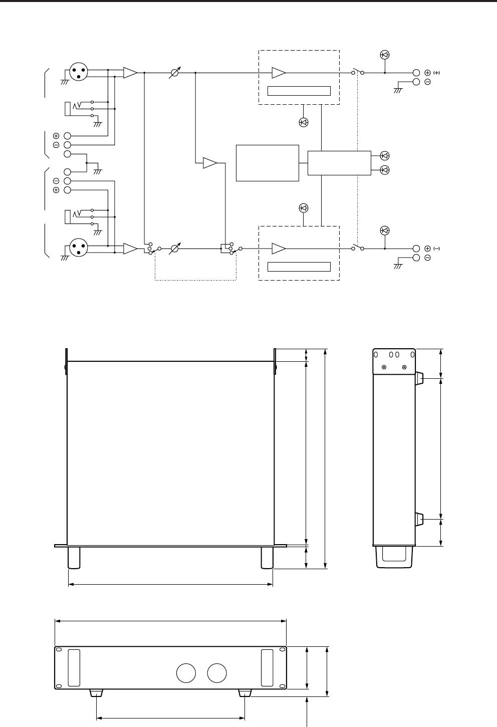 Yamaha P1600 P3200 P4500 Block Diagram Dimensions 9