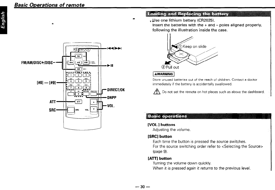 kenwood kdc-719, kdc-mp819, kdc-x559, kdc-x659 basic operations of remote  manuals