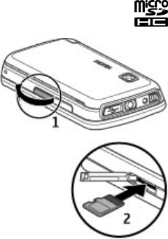 Nokia 5233 Insert the memory card
