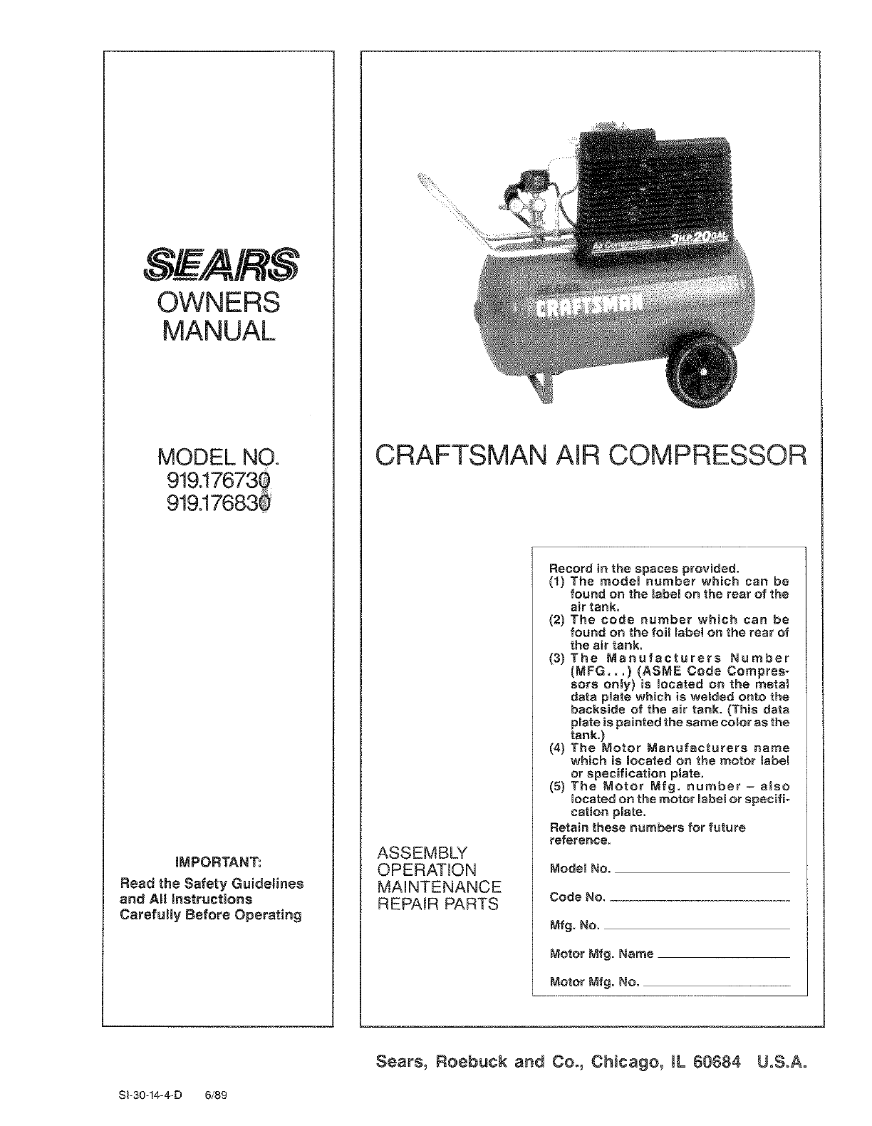 Craftsman 919 176730 919 17673g 919 17683 919 176830 Owner Manual