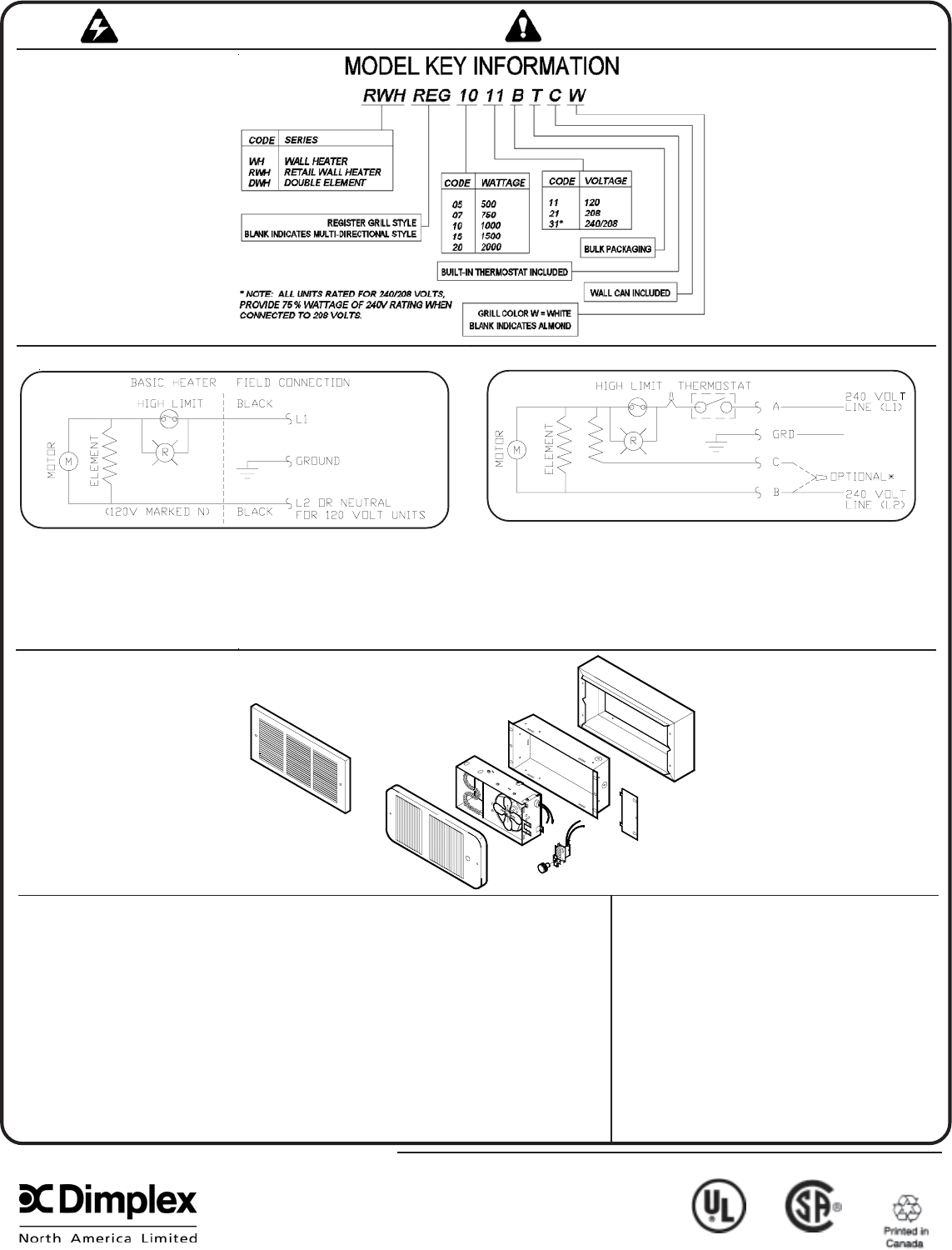 Dimplex Double Pole Thermostat Wiring Diagram from manualsdump.com