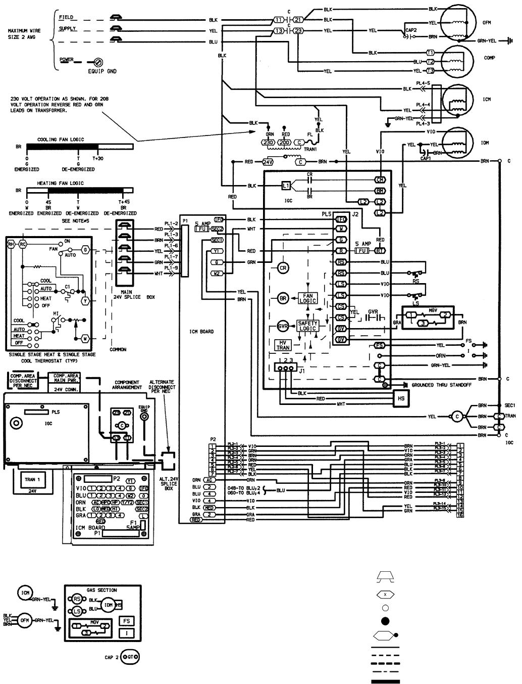 Bryant 588A, 589A Fig. 32 208/230-3-60 Wiring Diagram, Units 589A048,060
