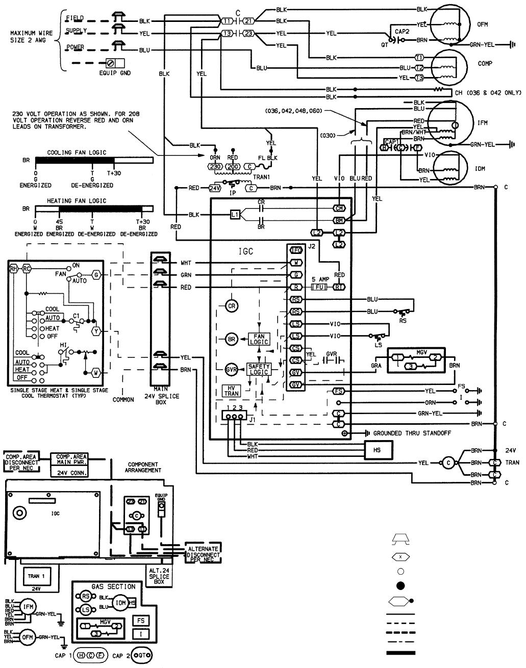 Carrier 48SS018-060, 48SX024-060 Fig. 27 208/230-3-60 Wiring Diagram, Units  48SS030-060manualsdump.com