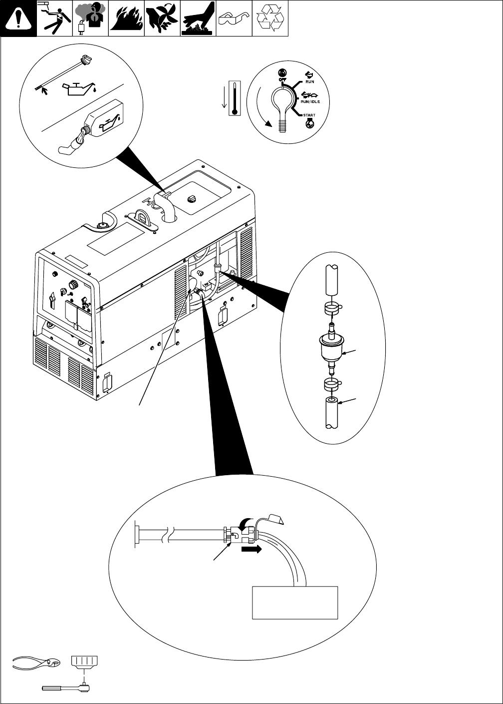 Miller Electric 301 G, DC, Trailblazer DC 9-5. Changing Engine Oil, Oil  Filter, And Fuel Filter (Kohler-Powered Units)Manuals