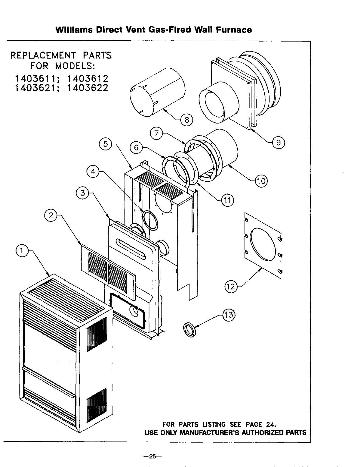 Williams 1403611 1403612 2203611 2203612 3003611 3003612 Page 25 Wall Furnace Thermostat Wiring Diagram