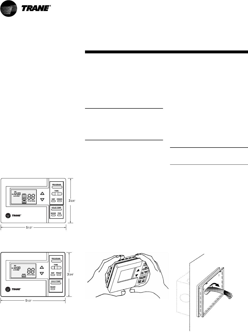 Trane SCXG-SVX01B-EN Programmable Zone Sensor