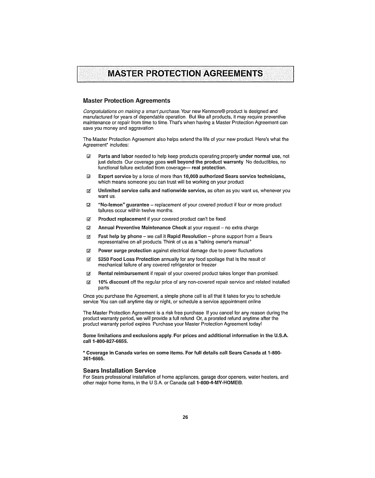Kenmore 116 29914 116 29915 Master Protection Agreements Sears Installation Service