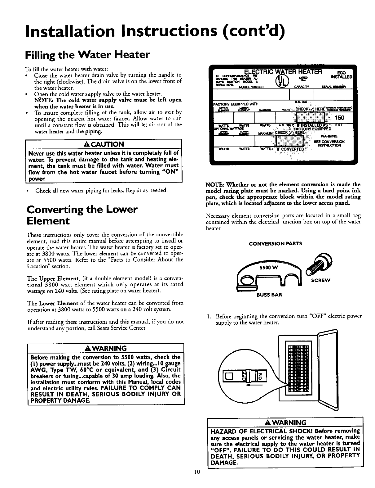 Kenmore 153316152 153316153 153316252 153316253 153316354 Electric Water Heater Wiring Diagram Installation Instructions Contd Filling The