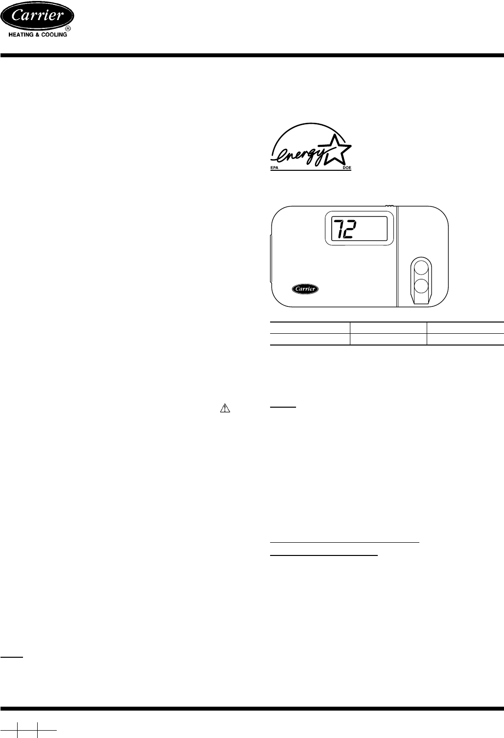 Carrier Thermostat Instruction Manual Wiring A