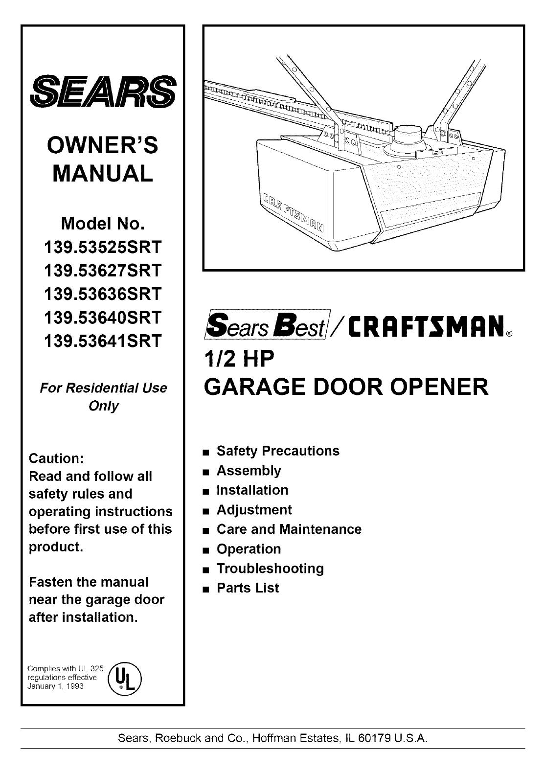 Craftsman Garage Door Opener Owners Manual 1 2 Hp - gaurani ... on