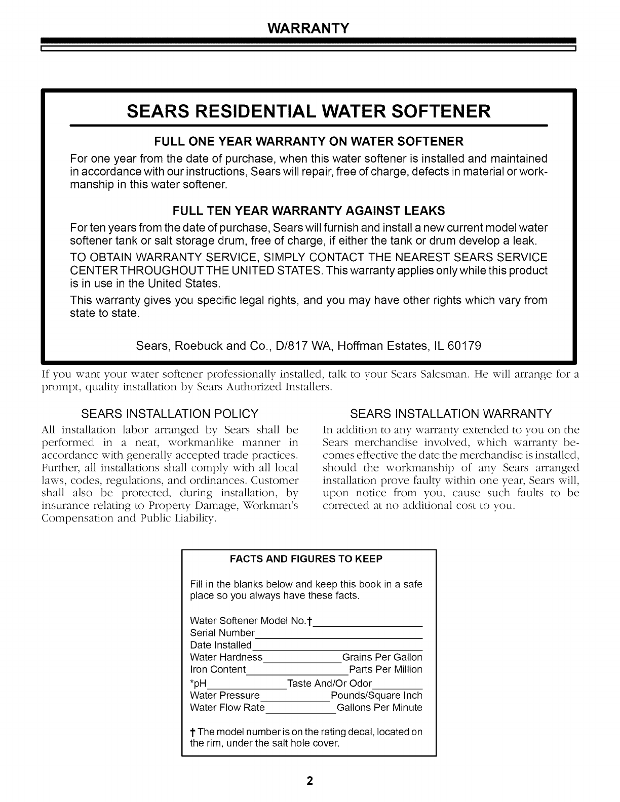 Kenmore 62534857 62534859 Sears Residential Water Softener Wiring Schematic