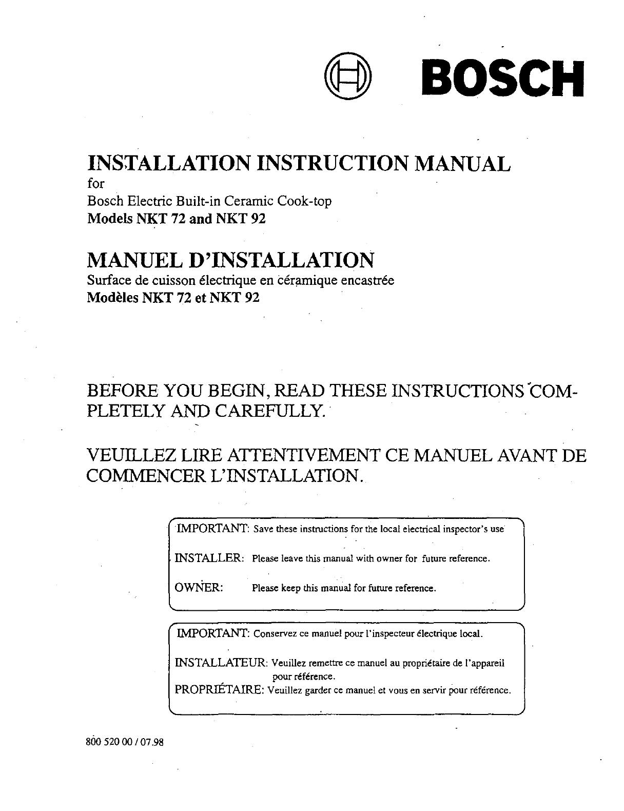 Bosch Appliances Nkt 72 92 Instruction Manual Refrigerator Wiring Schematic