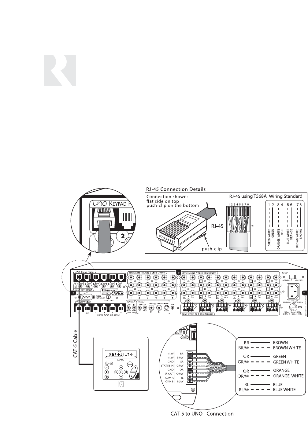 Russound Cav66 Six Zone Uno System Keypad Port Connection Wiring Diagram