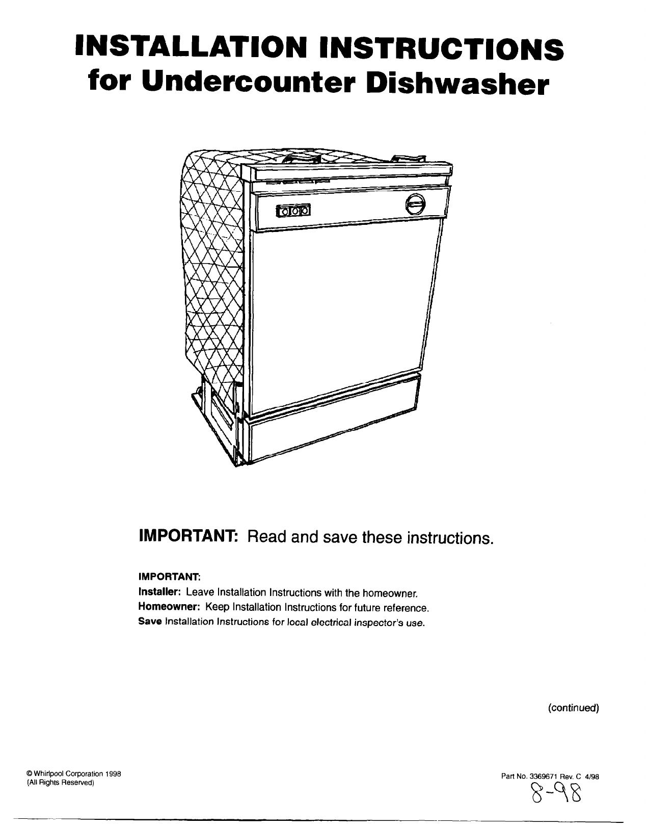 Whirlpool Dishwasher Installation Instructions Electrical Diagram