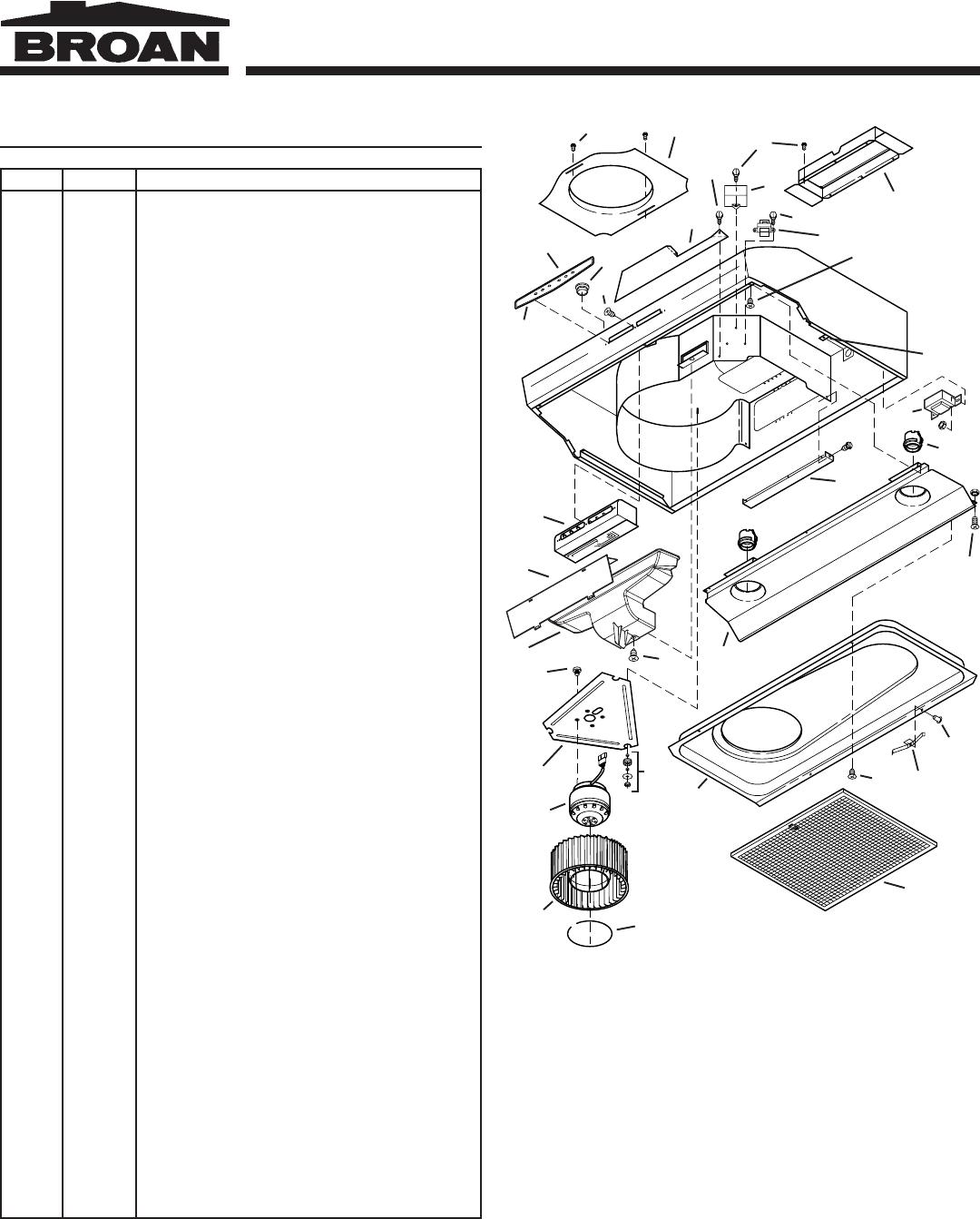 Broan Qs3 Service Parts Allure Range Hood Wiring Diagram