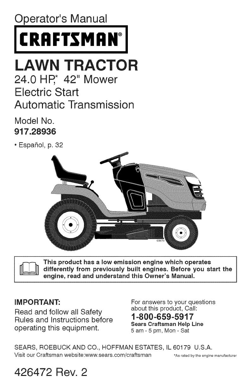 Operator's Manual. CRAFTSMAN°