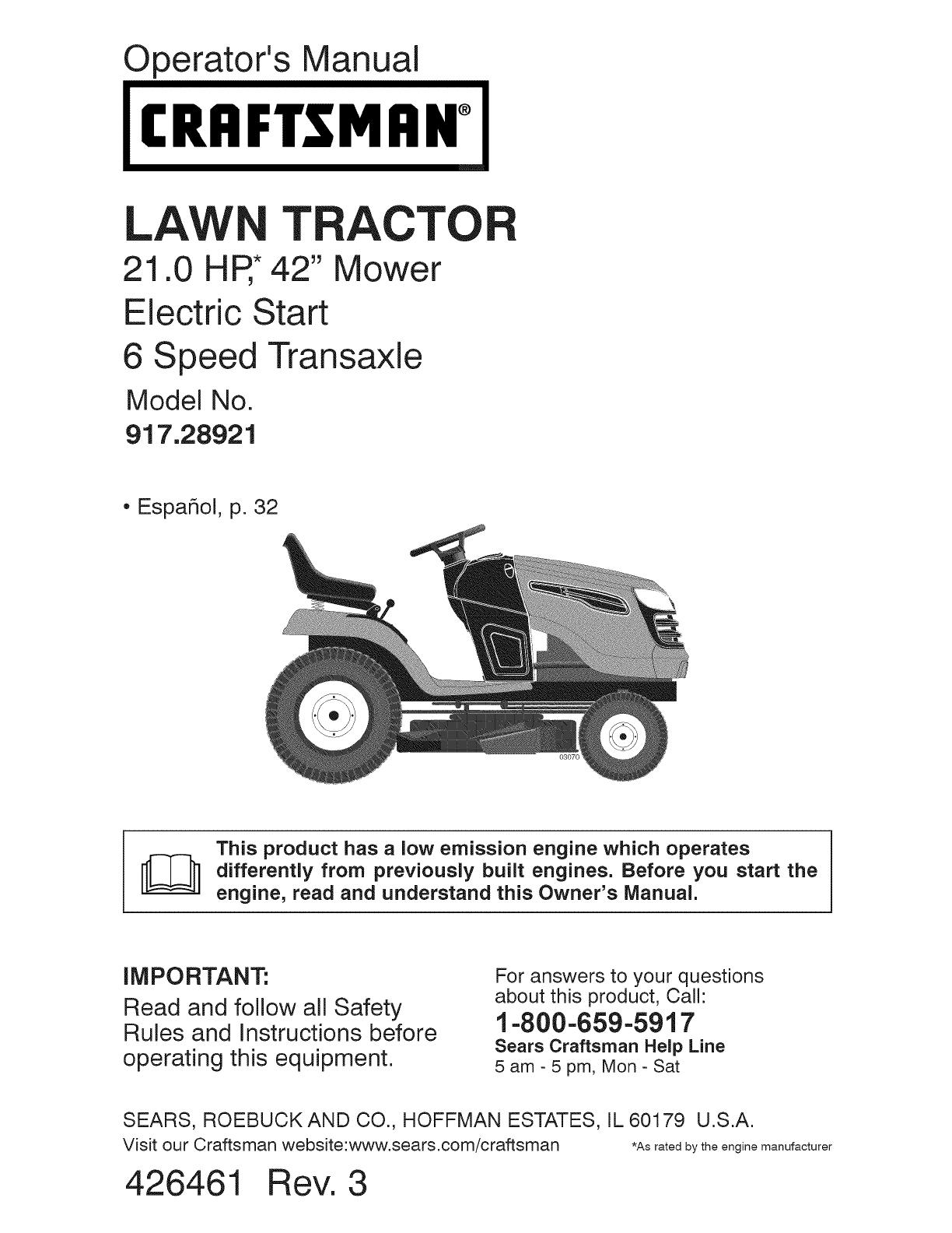 Craftsman 91728921 917289210 917289211 917289213 Yt 3000 Manual Sabre Riding Mower Wiring Diagram Law Tracto