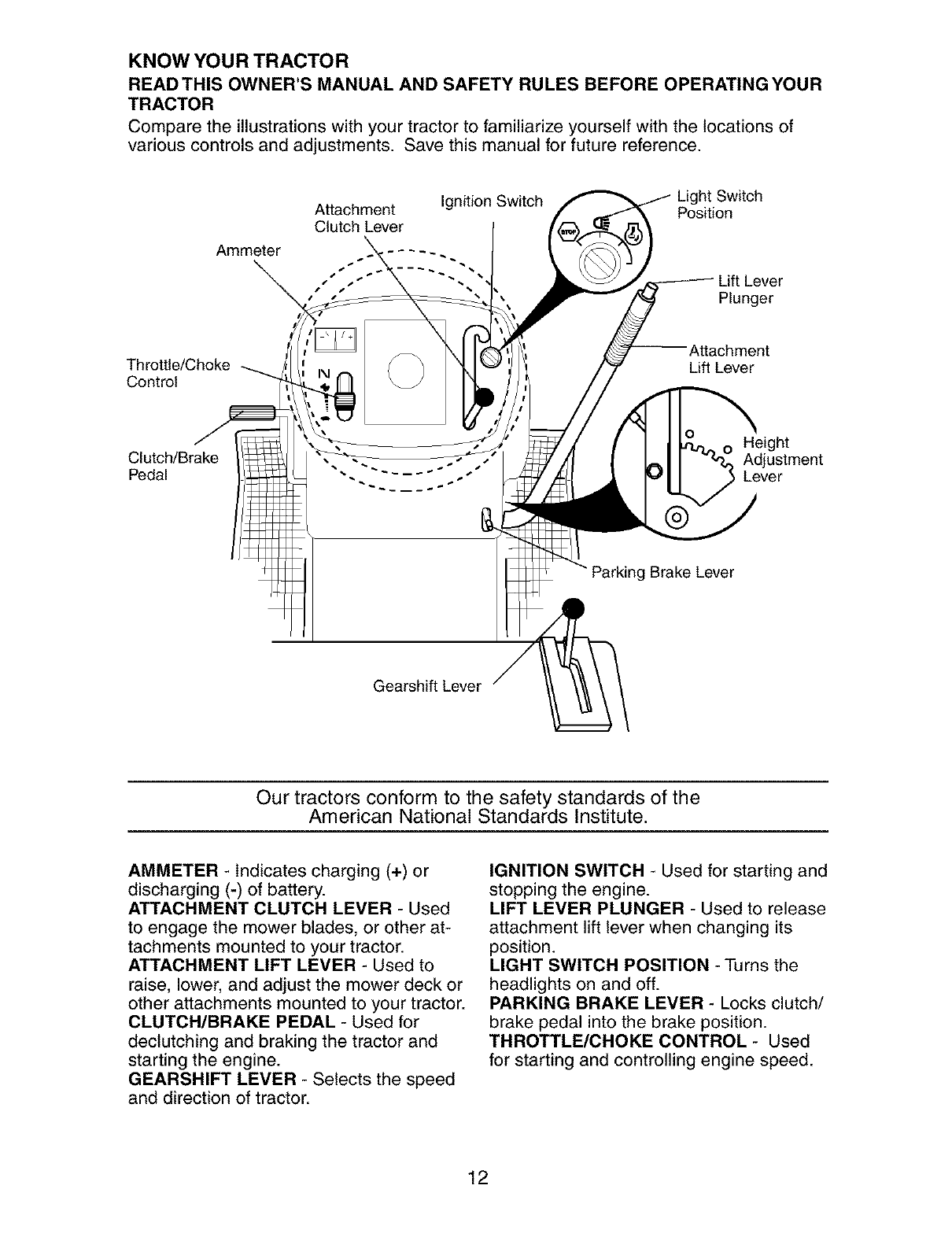 Craftsman 91727339 Our Tractors Conform To The Safety Standards Of Ammeter Wiring Diagram Lawn Tractor American National Institute