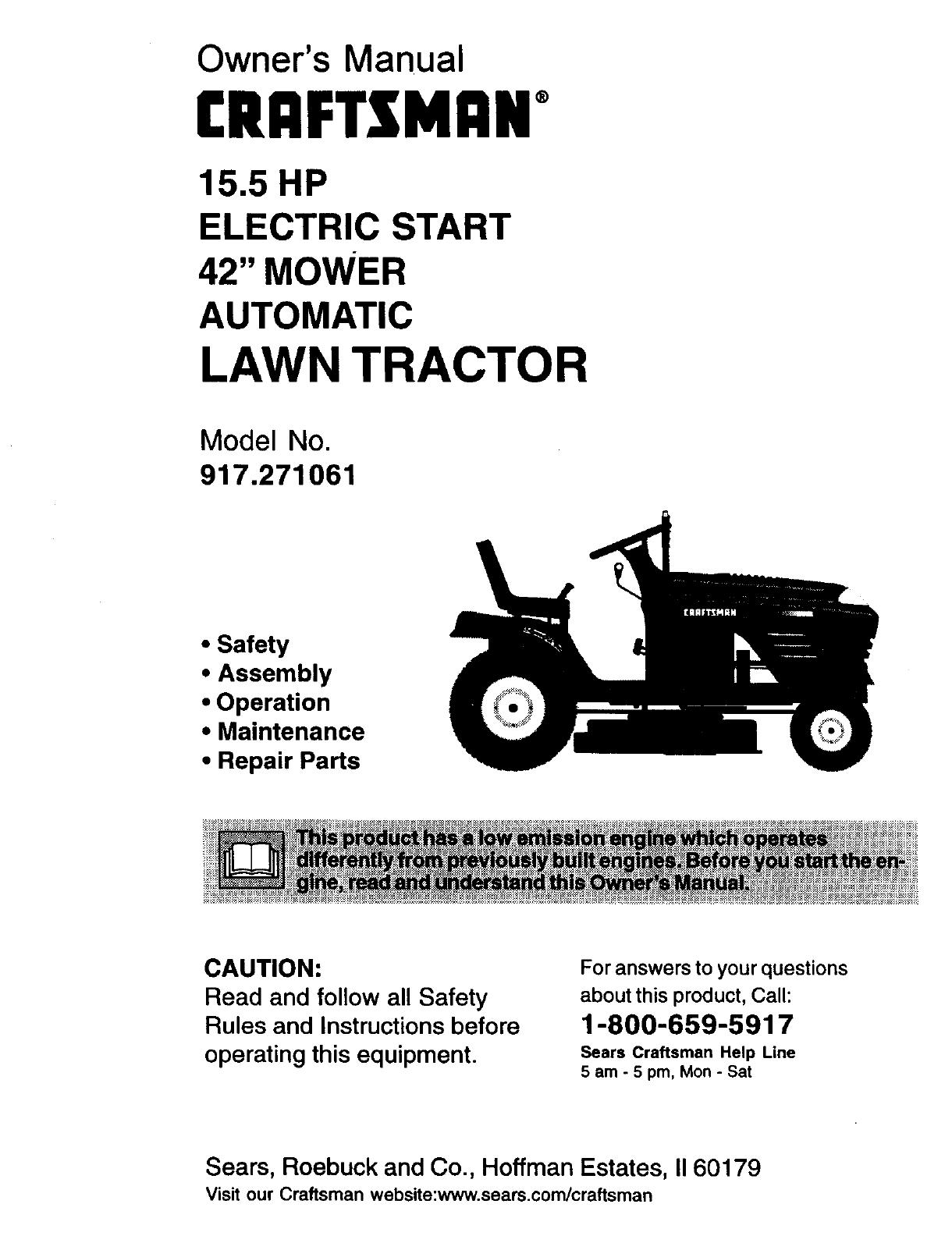 Craftsman 917271061 Owner Manual John Deere F525 Wiring Diagram Owners