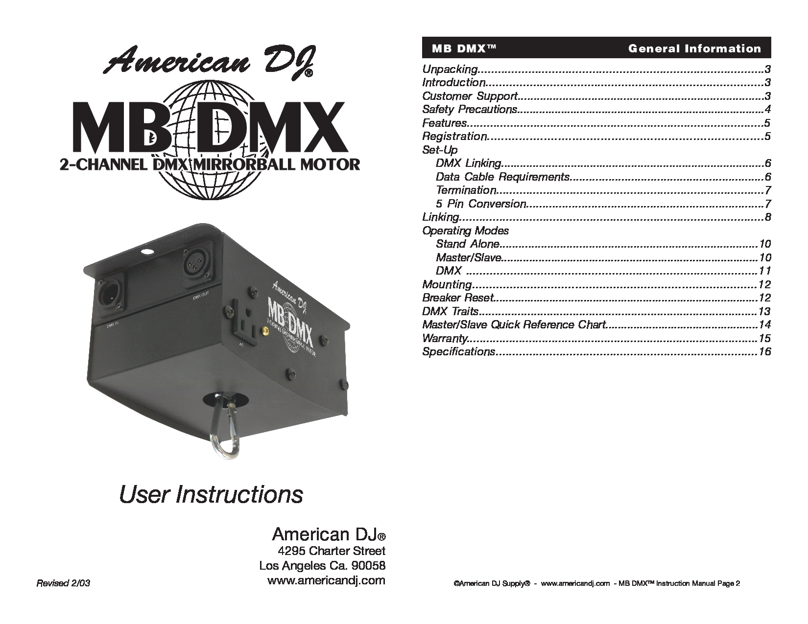 3D Connexion MB DMX Manual
