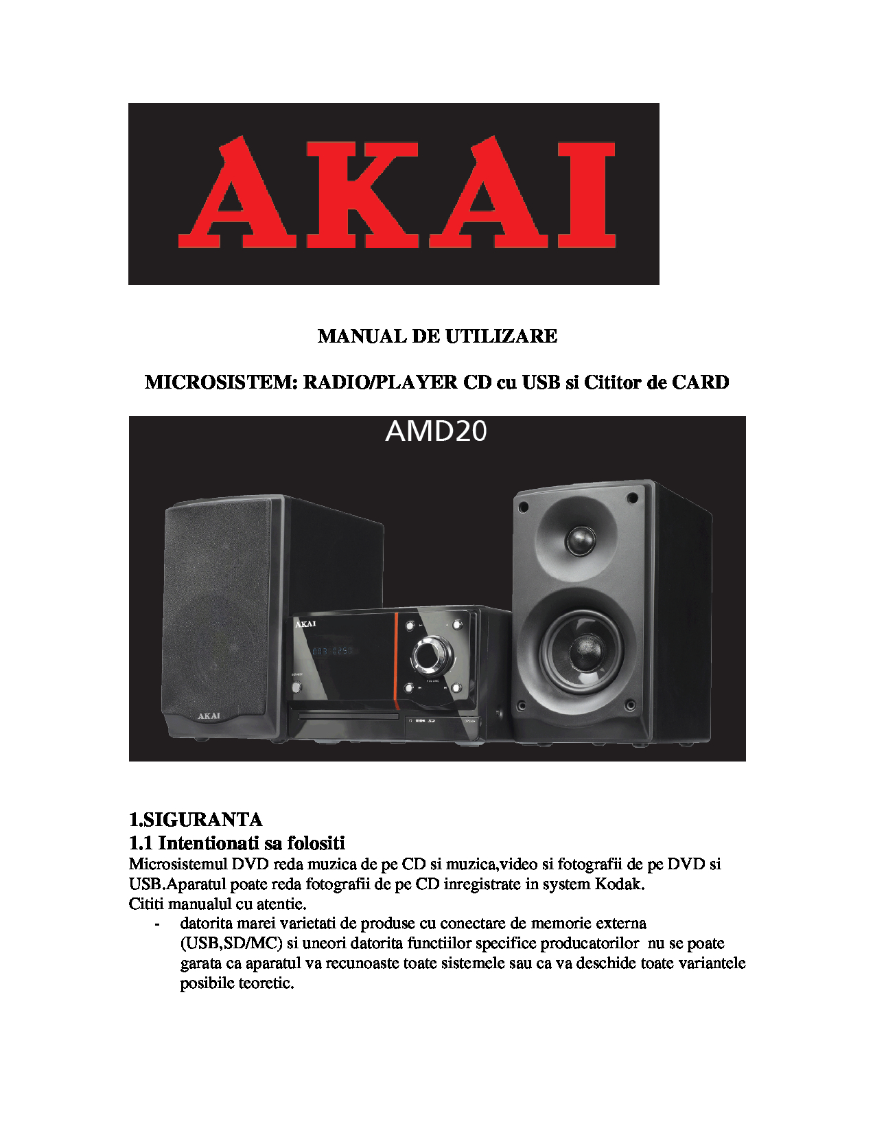 Akai AMD20 Manual