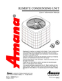 Amana REMOTE CONDENSING UNIT User Manual