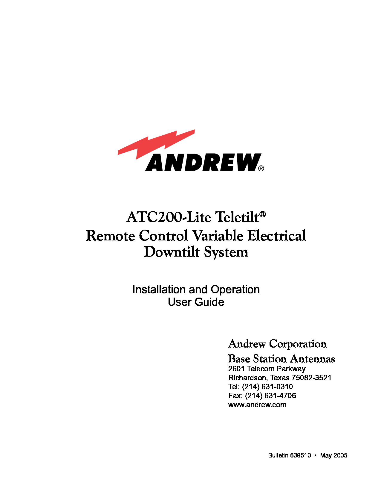 Andrew ATC200-Lite Manual