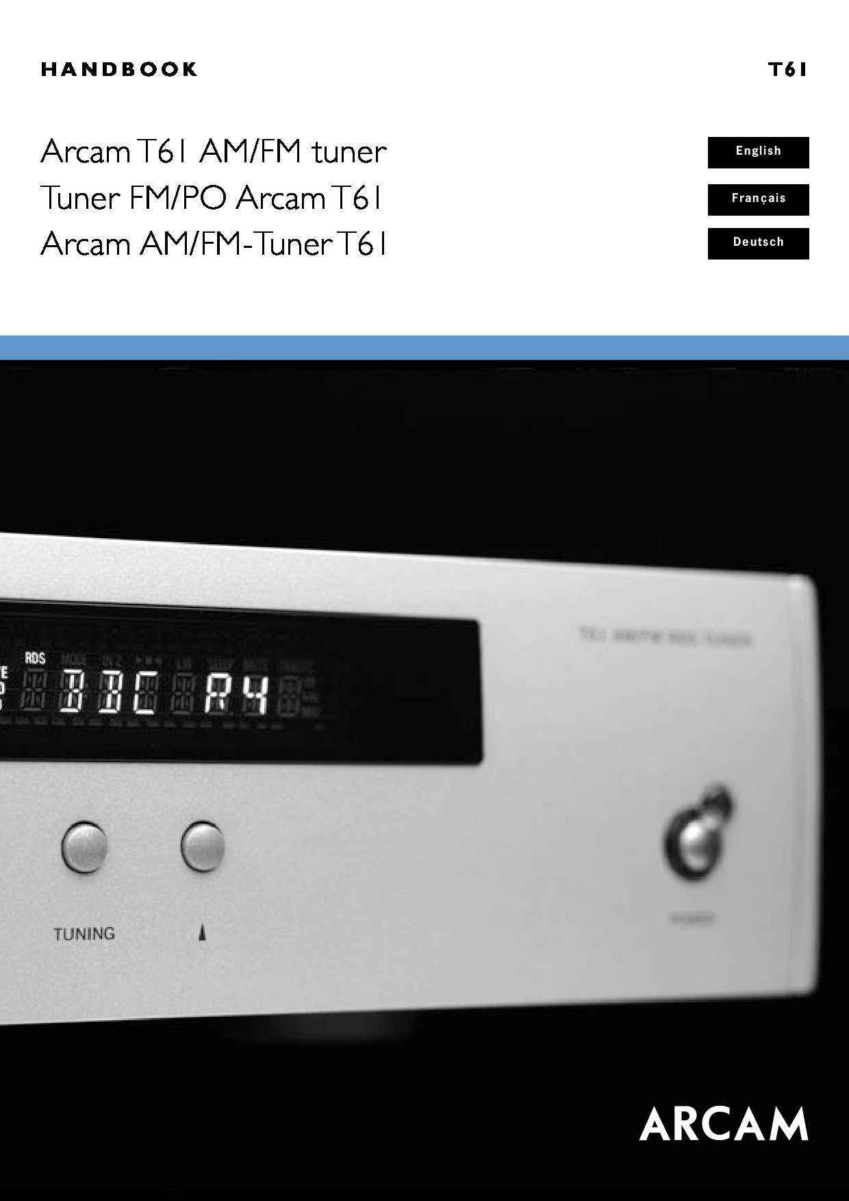 Arcam AM/FM Tuner T61 Manual