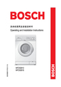 Bosch Appliances WFD50818 Installation Instructions