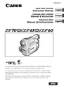 Canon ZR60 Instruction Manual