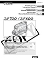 Canon ZR600 Manual