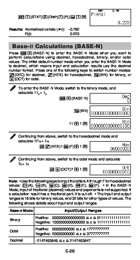 Casio fx-570ES PLUS, fx-991ES PLUS Base-n Calculations (BASE