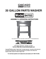Chicago Electric 20 Gallon Parts Washer Operating Instructions