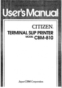 Citizen Systems CBM-810 Manual