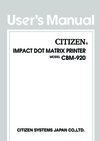 Citizen Systems CBM-920 Manual