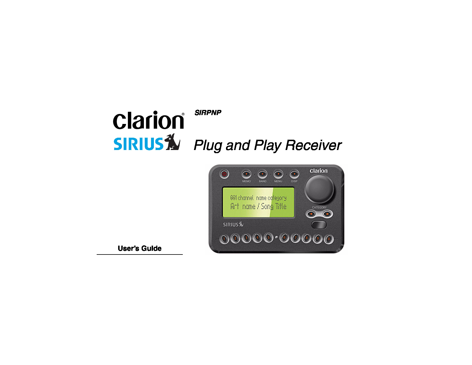 Clarion RPNP Plug and Play Receiver Manual