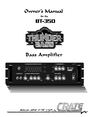 Crate Amplifiers BT-350 Owner Manual