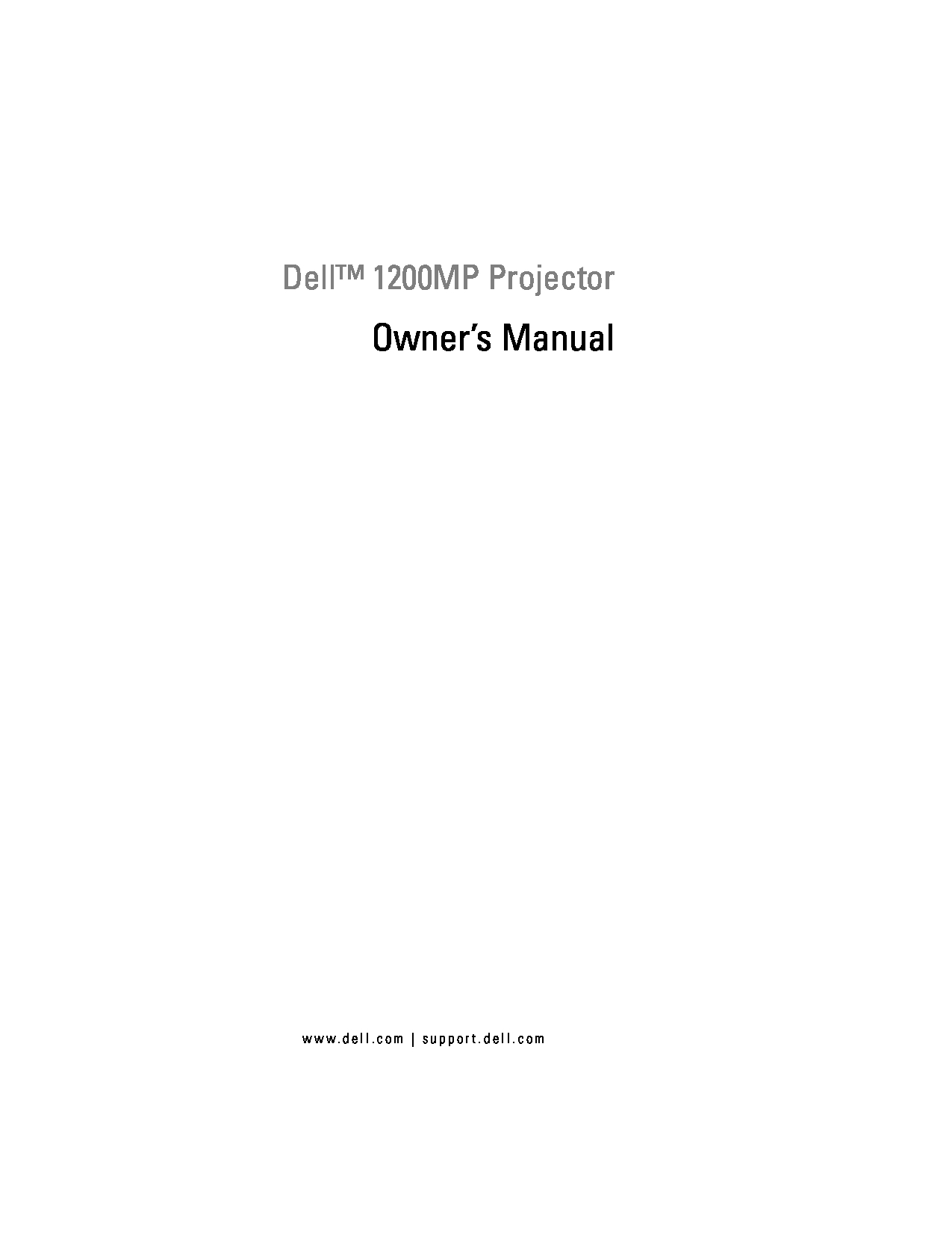 Dell 1200MP Owner Manual