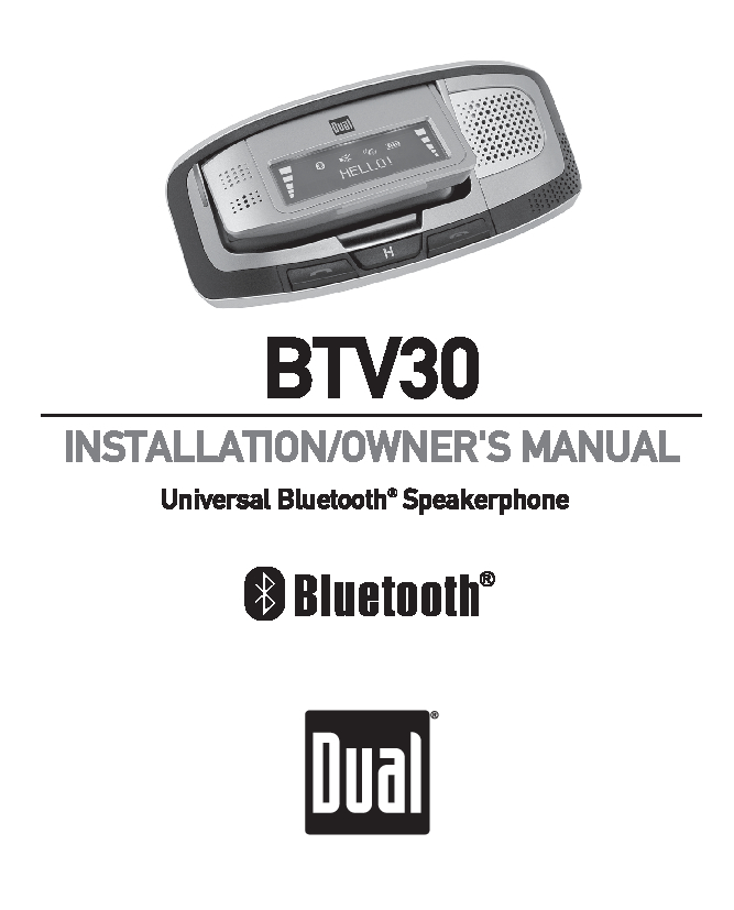 Dual BTV30 Owner Manual