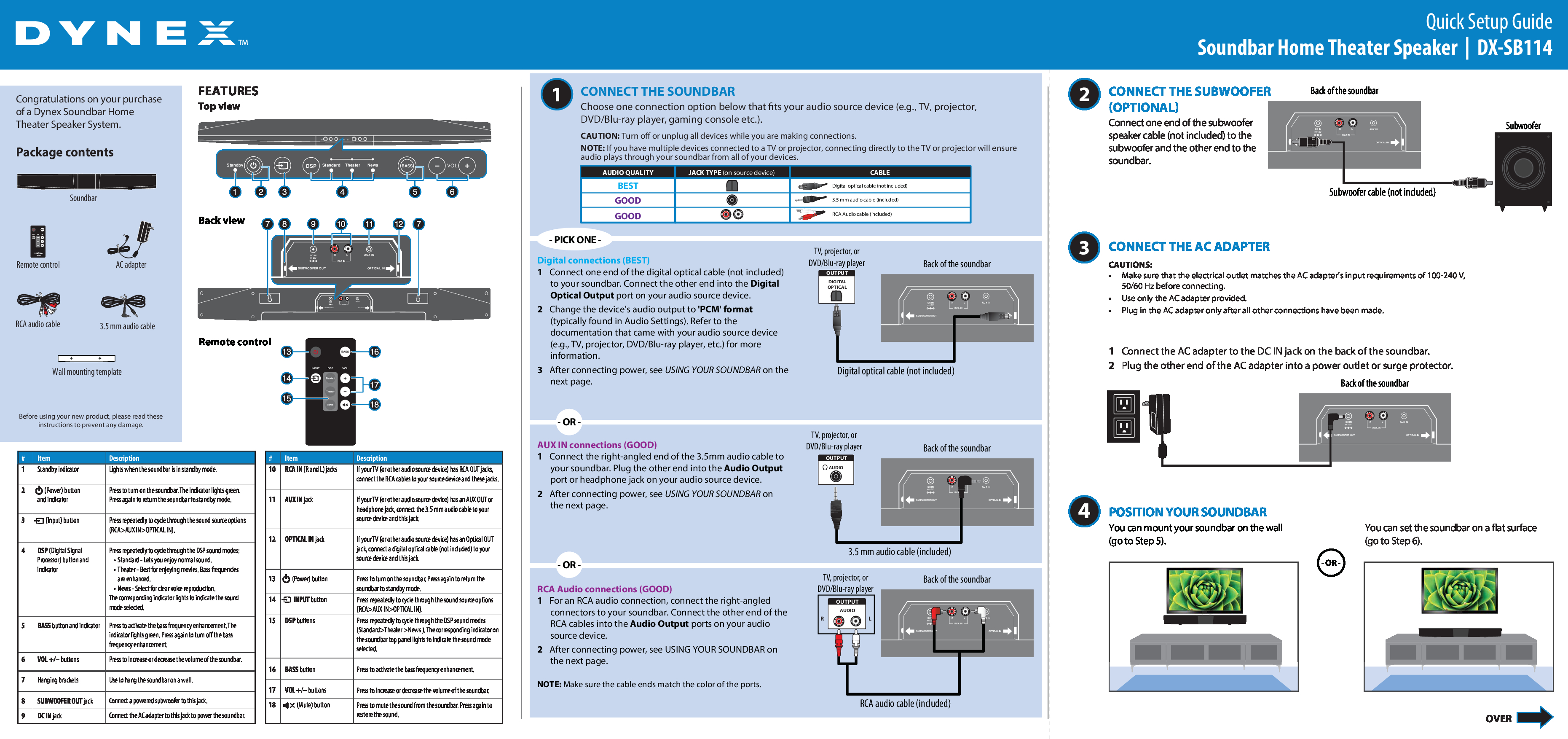 Dynex DX-SB114 manuals