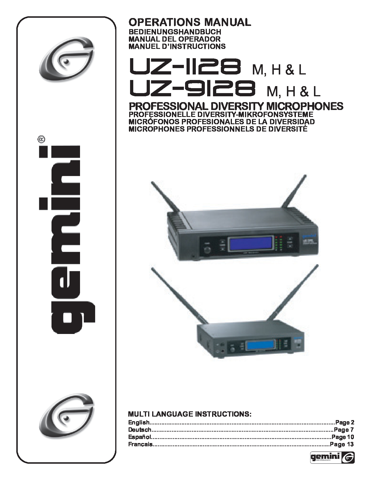 Gemini UZ-1128 Manual