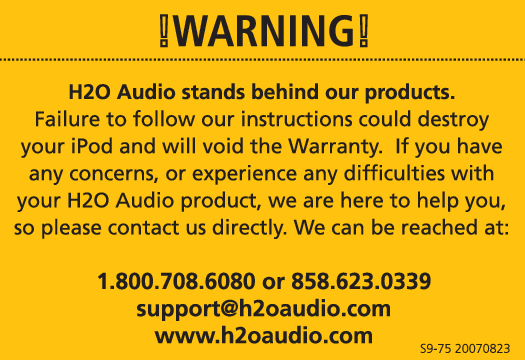 H2O Audio iSH2-5A1 Manual
