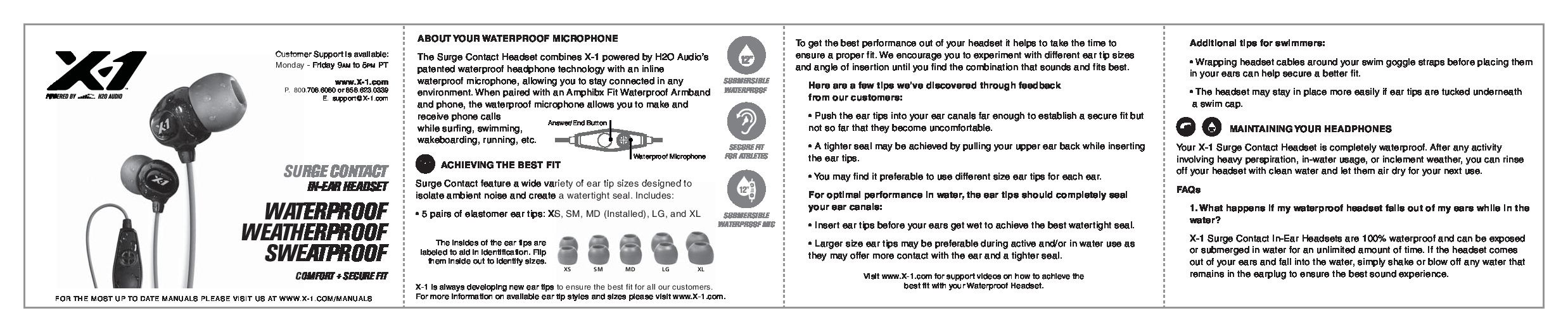 H2O Audio X-1 Manual