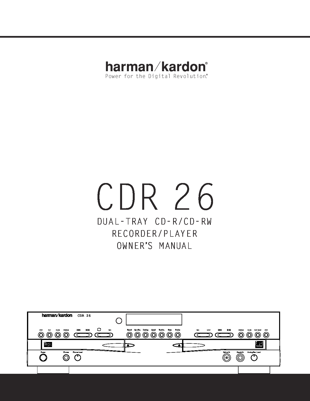 Harman kardon cdr 20 manual